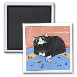 Fat Cat and a Rug of Fish Biscuits | Cat Art Square Magnet