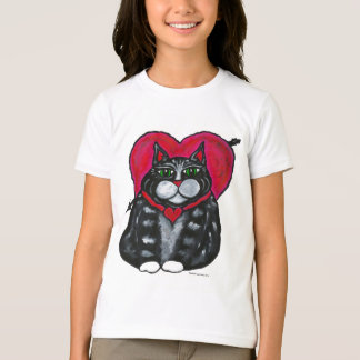 Fat Cat and Heart's short sleeved Girl's T-shirt