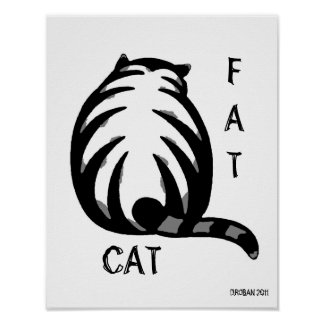 Fat Cat-Grey & Black Poster