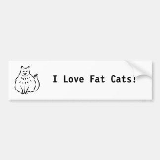 Fat Cat, I Love Fat Cats! Bumper Sticker
