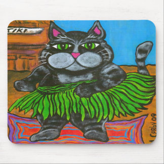 Fat Cat in a Hula Skirt at a Tiki Bar mousepad