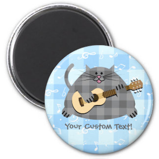 Fat Checkered Gray Kitty Cat Acoustic Guitar Magnet