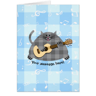 Fat Chequered Country Kitty Cat Acoustic Guitar Card
