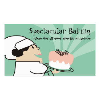 Fat female pastry chef carrying decorated cake business card templates