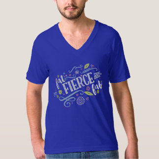 Fat Fierce and Fab Unisex Royal Blue V-Neck Tee