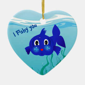 Fat-fish cartoon  illustration ceramic ornament