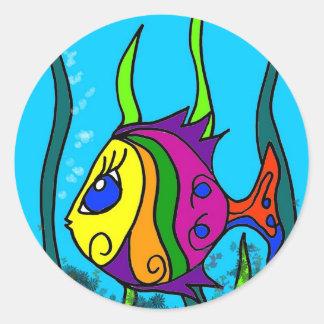 Fat Fish Colorful Classic Round Sticker