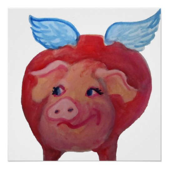 fat flying pig poster