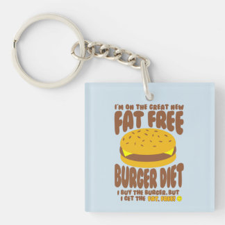 Fat Free Burger Diet Keychain