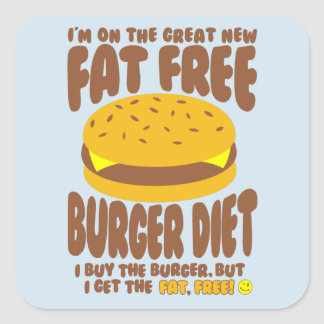 Fat Free Burger Diet Square Sticker