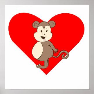 Fat Girl Monkey Heart Posters
