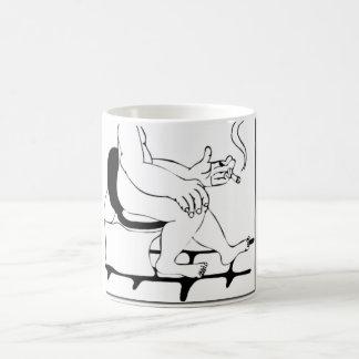 Fat Guy Smoking On The Toilet Comic Manga Style Coffee Mug