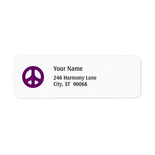 Fat Purple Peace Sign Custom Return Label Return Address Label