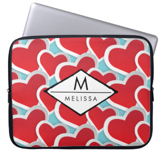 Fat Red Hearts Repeating Pattern Cute Laptop Sleeve