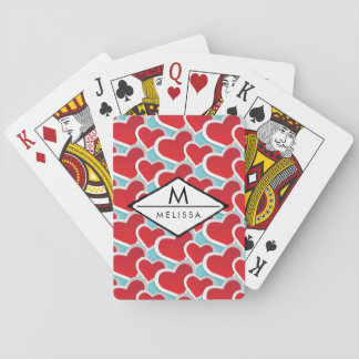 Fat Red Hearts Repeating Pattern Cute Playing Cards