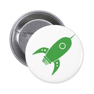 Fat Retro Rocket Ship Green 2 Inch Round Button
