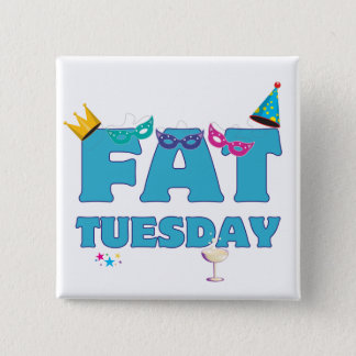 Fat Tuesday Mardi Gras 2 Inch Square Button