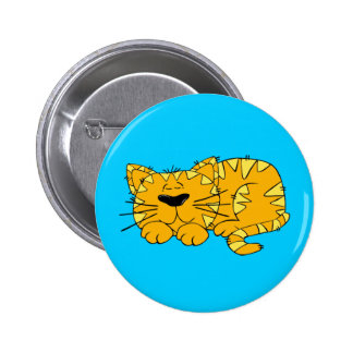 Fatcat the Sleepy Cartoon Cat Pinback Buttons