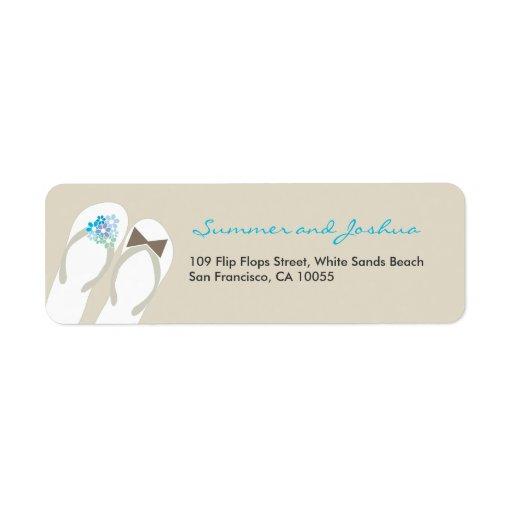 fatfatin Beach Aqua Flip Flops Address Label