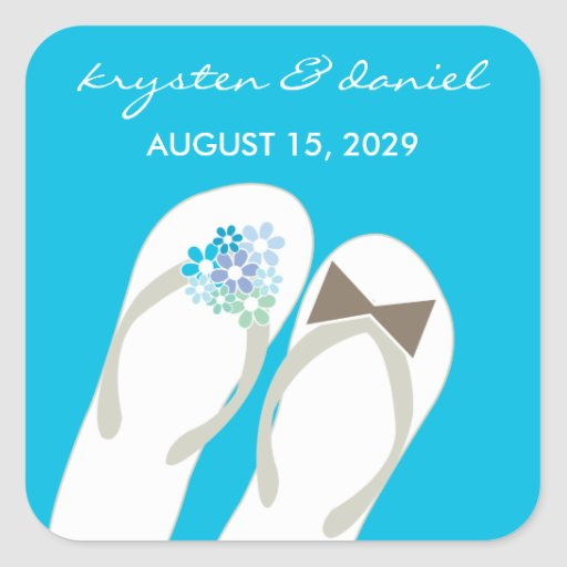 fatfatin Beach Aqua Flip Flops Wedding Sticker