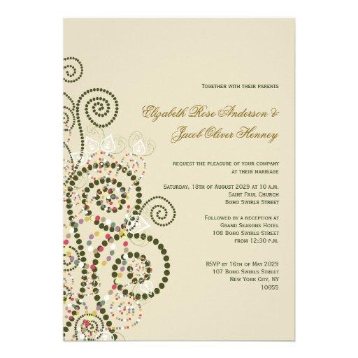 fatfatin Boho Green Spirals Wedding Invitation