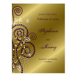fatfatin Boho Purple Spirals Gold Save The Date Post Card