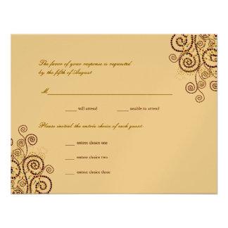 fatfatin Boho Purple Spirals Wedding RSVP Card Personalized Invitations