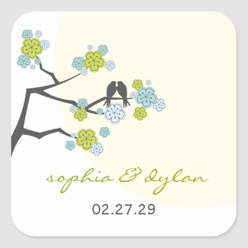 fatfatin Cherry Blossoms Love Birds Wedding Square Sticker