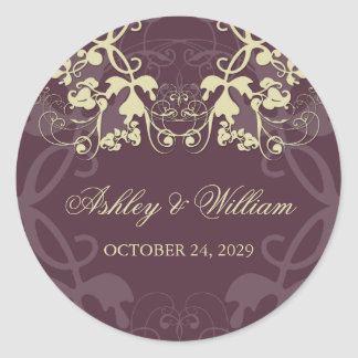 fatfatin Floral Flourish Ash Wedding Sticker