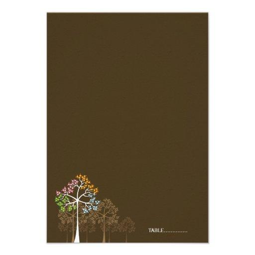 fatfatin Four Seasons Trees Folded Place Card Invitation