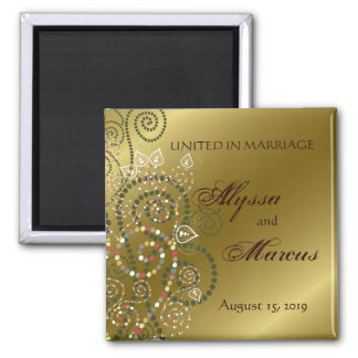 fatfatin Green Boho Spirals Gold Save The Date Square Magnet