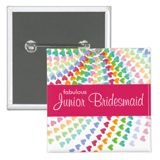fatfatin Rainbow Heart Sprinkles Wedding Name Tag 2 Inch Square Button