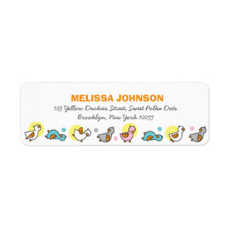 fatfatin Silly Duckies Pastel Baby Shower Labels Return Address Label