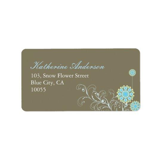 fatfatin Snow Flower Swirls Blue Address Label