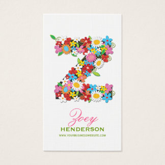 "fatfatin Spring Flowers ""Z"" Monogram Profile Card"