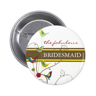 fatfatin Summer Birds And Swirls Wedding Button