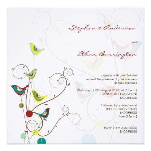 fatfatin Summer Birds And Swirls Wedding Invite Invite