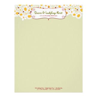 fatfatin White Daisies & Ladybugs Letterhead