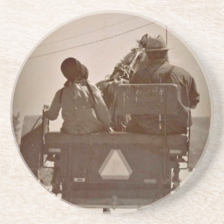 Father and Daughter Amish Horse and Buggy Coasters
