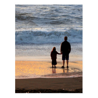 Father and daughter postcard