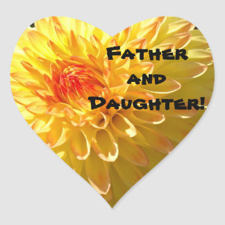 Father and Daughter! stickers Heart Shaped Orange