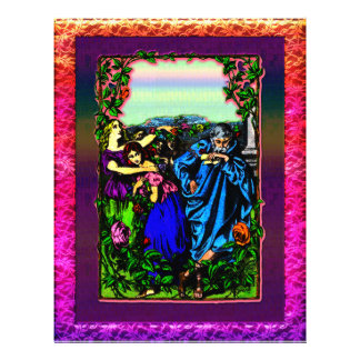 Father and his daughter s in garden Letterhead