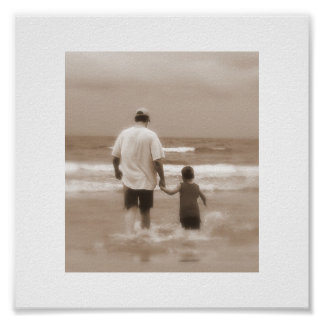 Father and Son at the Beach Poster