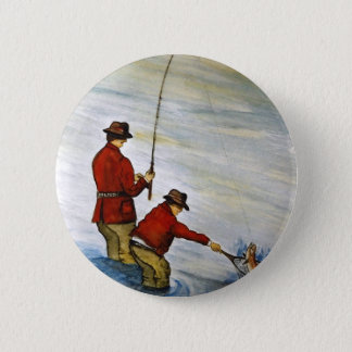Father and son fishing trip 2 inch round button