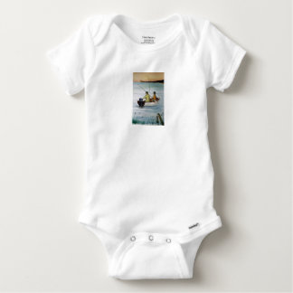 Father and son fishing trip baby onesie