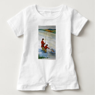 Father and son fishing trip baby romper