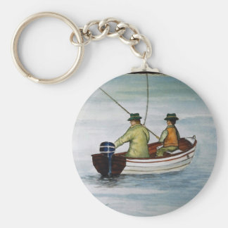 Father and son fishing trip basic round button keychain
