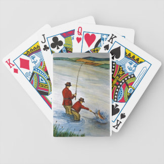 Father and son fishing trip bicycle playing cards