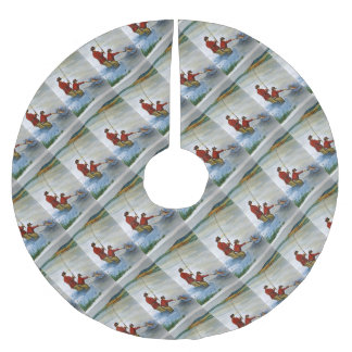 Father and son fishing trip brushed polyester tree skirt