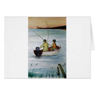 Father and son fishing trip card